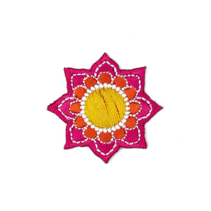 Boutique Applique Flower Pink/Yellow