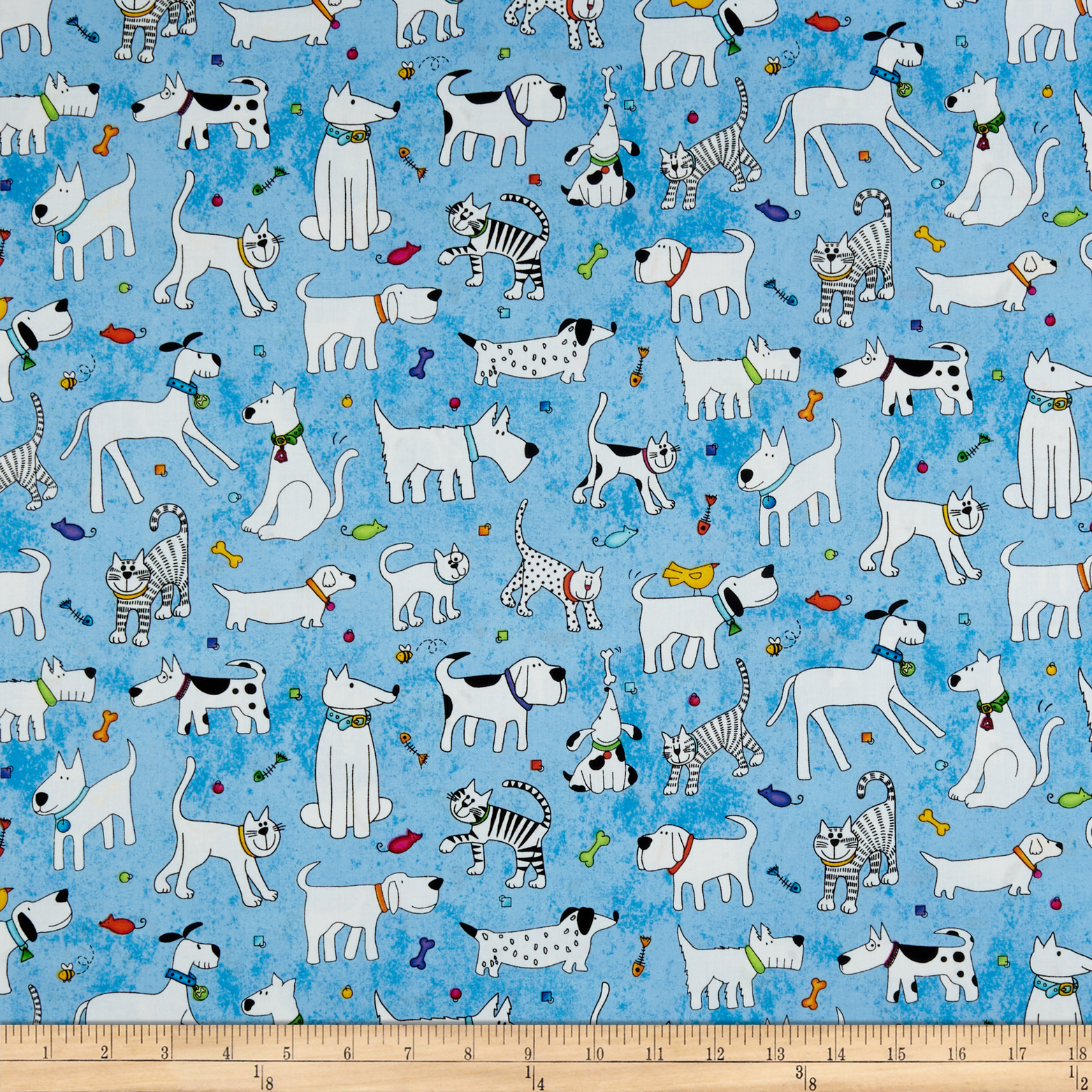Epic Woof N' Whiskers Pets Toss Blue Fabric