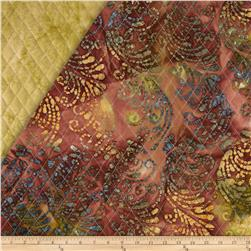 Indian Batik Double Sided Quilted Vertical Vine Brown/Grey