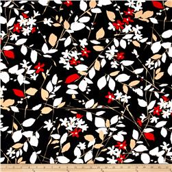Cotton Lycra Twill Print Floral Black/Tan/Red