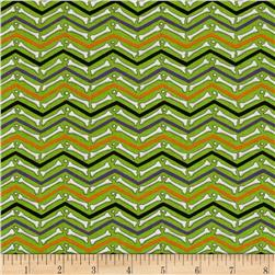 Moda Moonlight Manor Skeleton Chevron Moss Green