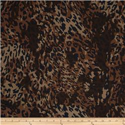 Cotton Spandex Jersey Knit Camo Leopard Brown/Black/Tan Fabric
