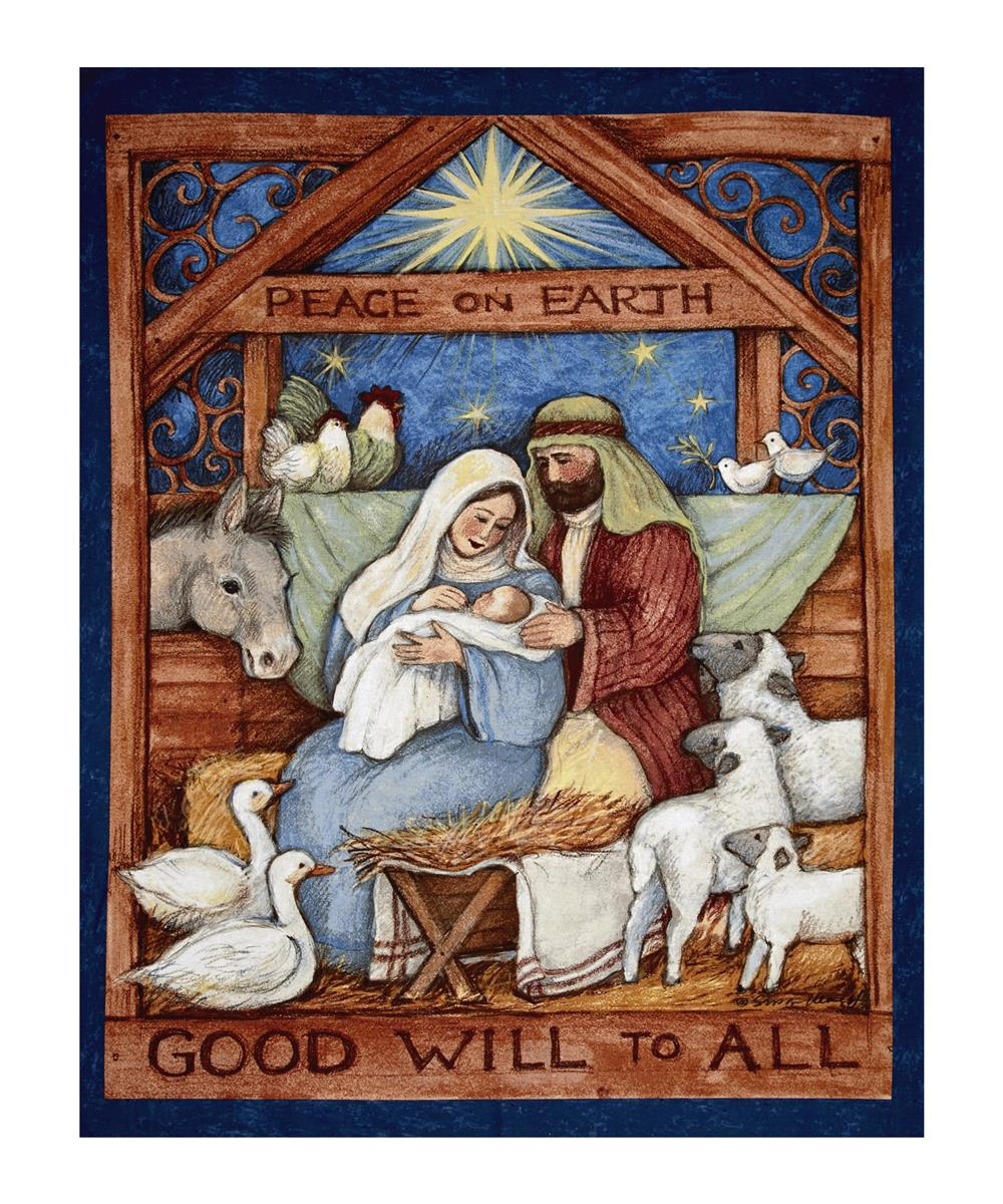 """Good Will To All Nativity 36"""" Panel Multi"""