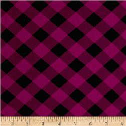 Printed Jersey Knit Black Checker Plaid on Magenta