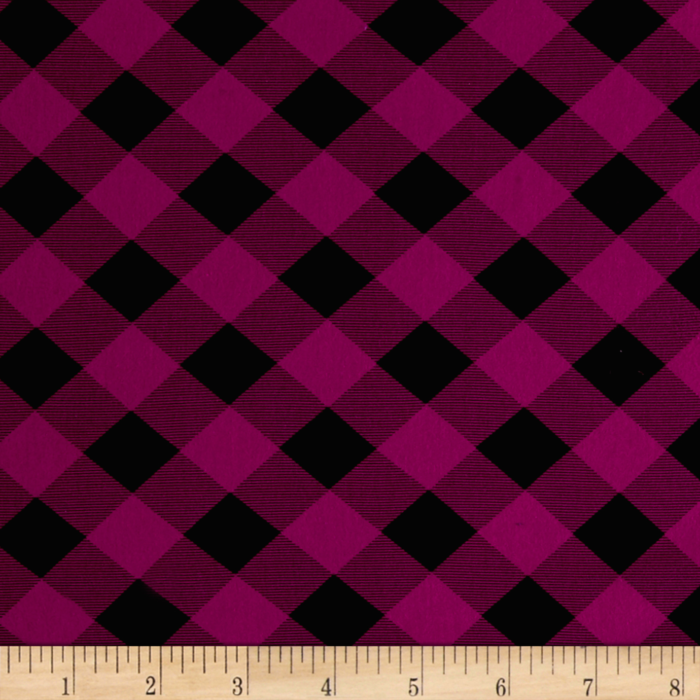 Printed Jersey Knit Black Checker Plaid on Magenta Fabric by Fabric Merchants in USA
