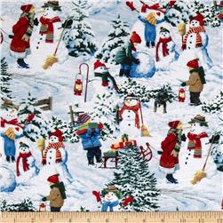 Snow Day Scenic Kids & Snowmen Allover Multi