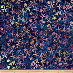 Timeless Treasures Tonga Batik Zanzibar Spikey Flower Navy