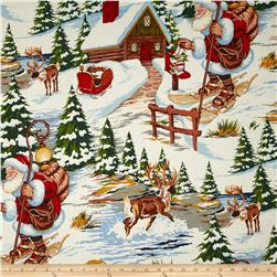 Christmas Time Santa's Lodge Bright Multi