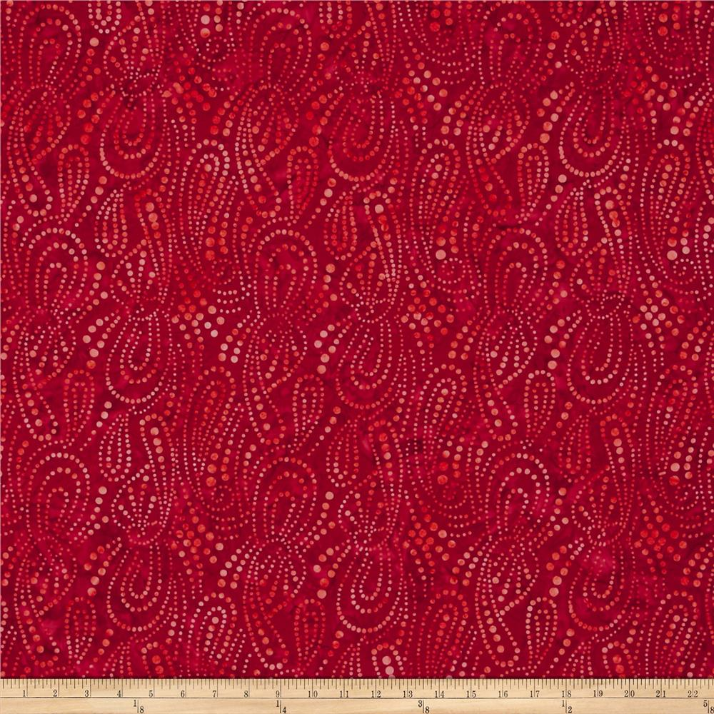 Wilmington batiks paisley dots red discount designer for Cheap fabric
