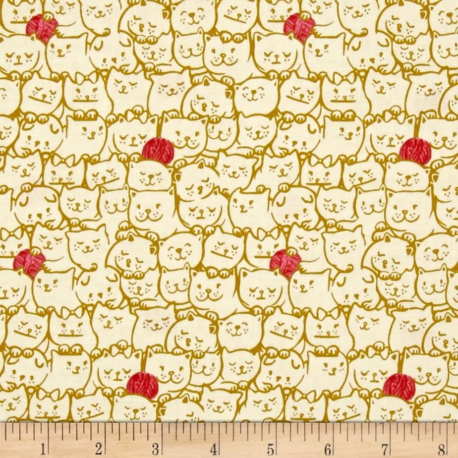 Cotton + Steel Cat Lady Stack O Cats Mustard