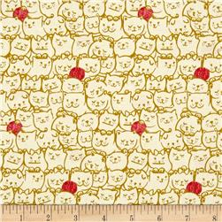 Cotton & Steel Cat Lady Stack O Cats Mustard
