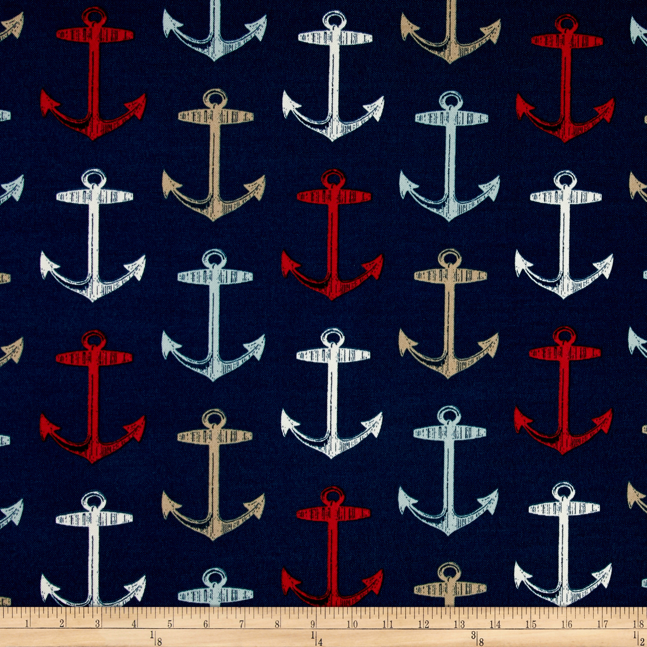Image of Bryant Indoor/Outdoor Anchor Allover Arbor Navy Fabric