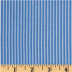 Rayon Challis Stripes Sky Blue