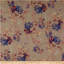 French Designer Cotton Voile Floral Taupe/Purple/Multi