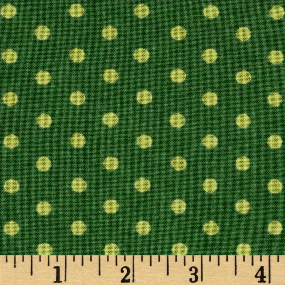 Moda Be Jolly Jolly Polka Dots Pine Green