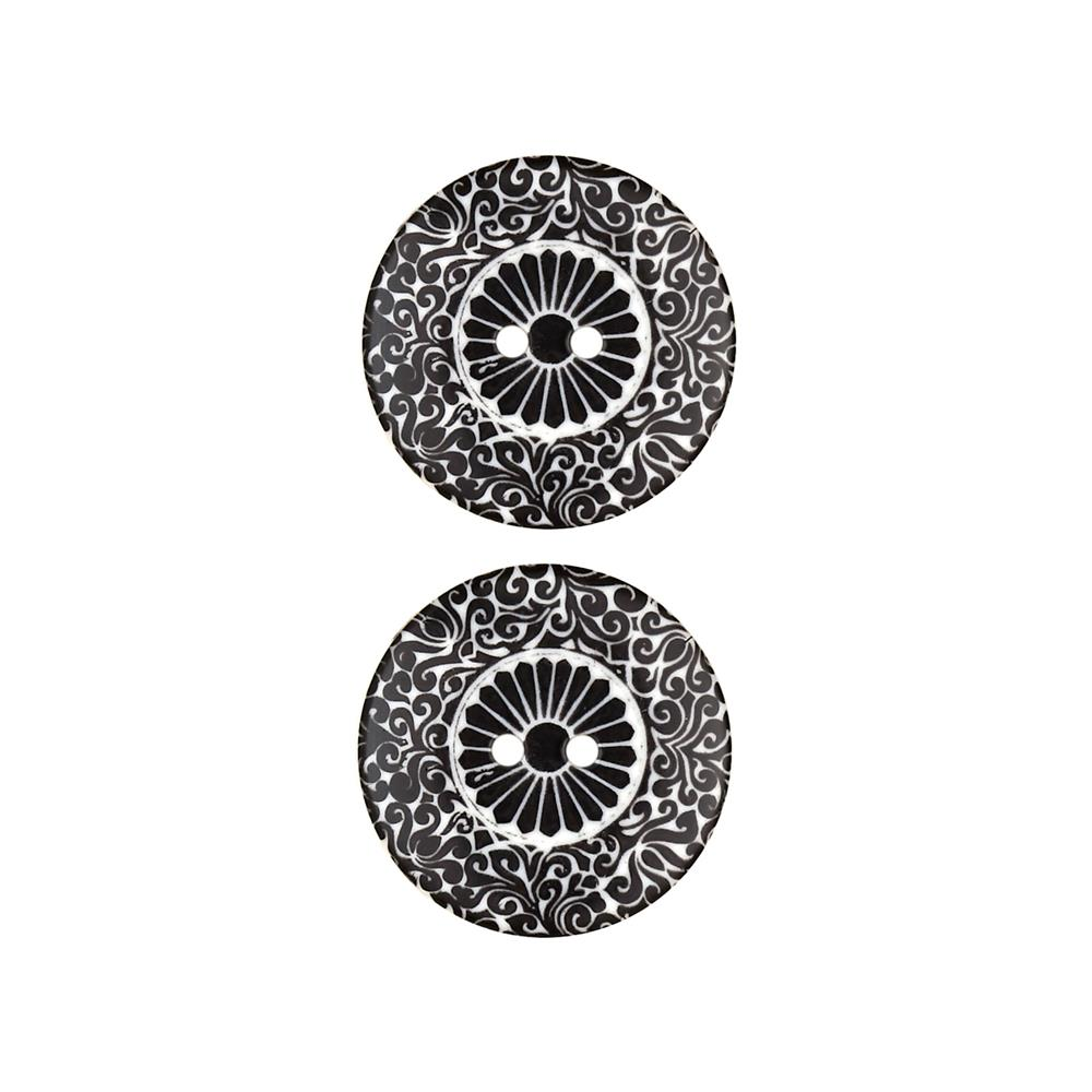 Dill Novelty Button 1'' Scroll White/Black