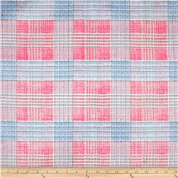 Oil Cloth Tartan Plaid Blue/Pink Fabric