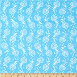 Contempo Feathers Turquoise/White