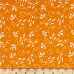 Space Age Tossed Space Ships Orange Fabric