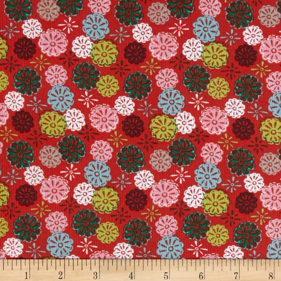 Mouse Camp Corduroy Flowers Red