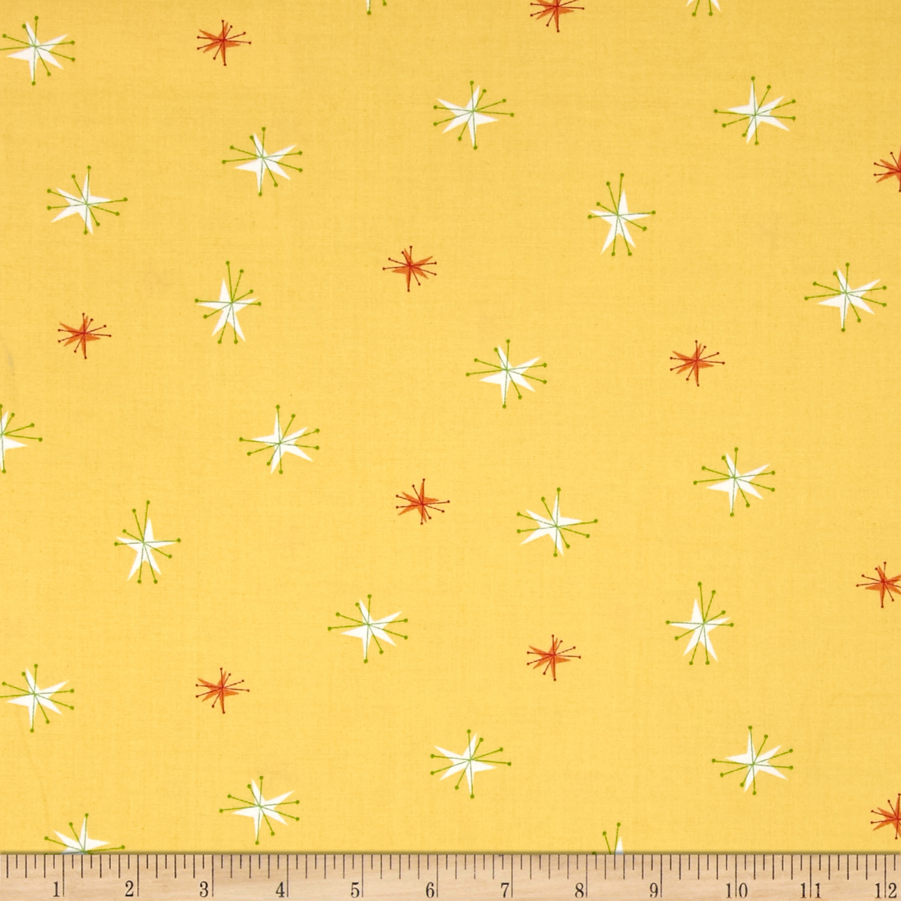 Bessie & The Diaryinettes Starburst Yellow Fabric by Andover & Makower in USA