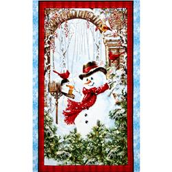 "Timeless Treasures Winter Flurries 24"" Snowman Panel Snow"