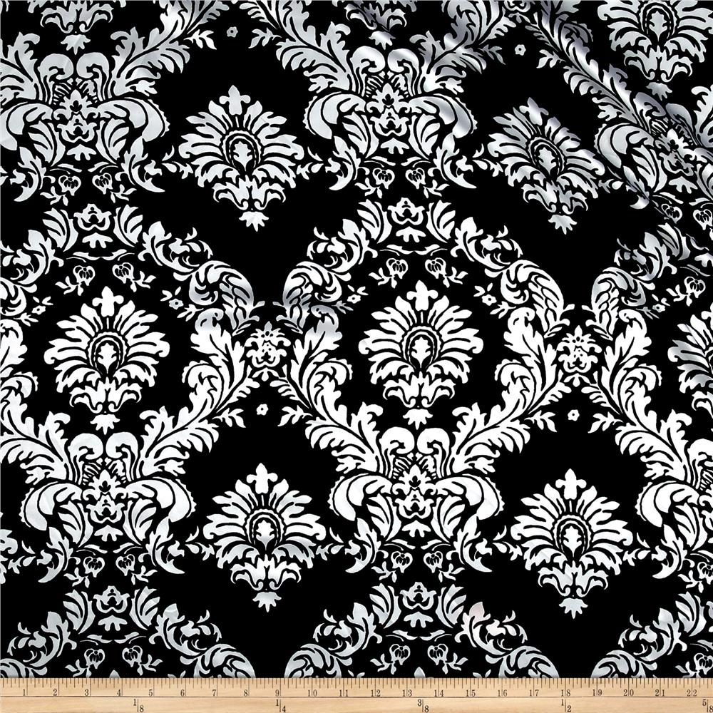 Charmeuse Satin Old Damask Black/White