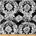 Charmeuse Satin Old Damask White/Black
