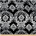Fabric Charmeuse Satin Old Damask Black/White