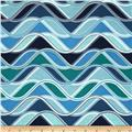 Kaufman Vantage Point Wavy Stripe Sea Glass