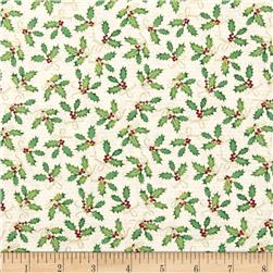 Holiday Magic Ho Ho Holly Natural Fabric