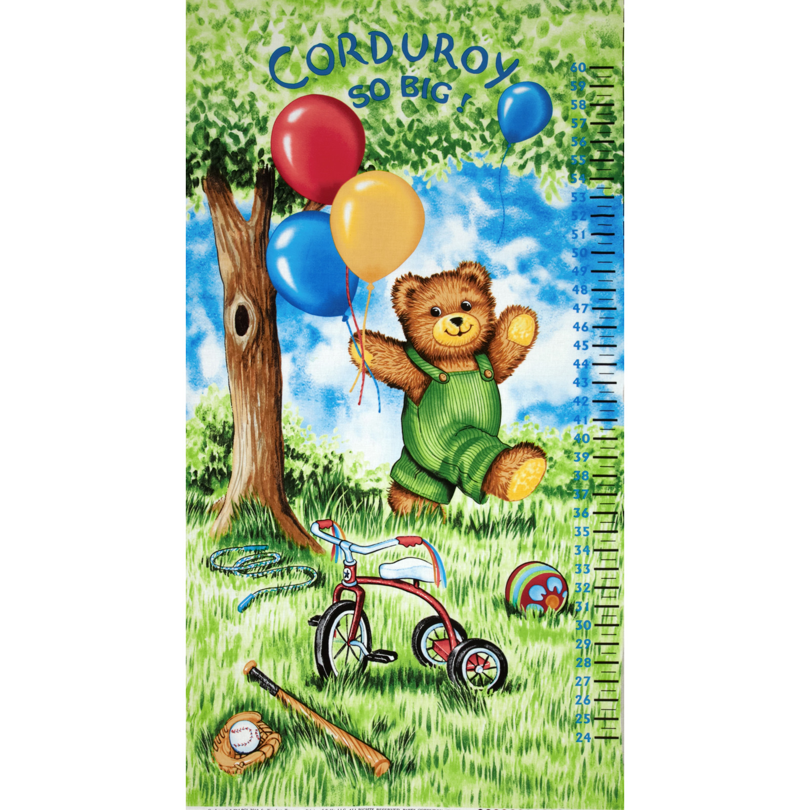 Corduroy Bear Panel Watch Me Grow Growth Chart