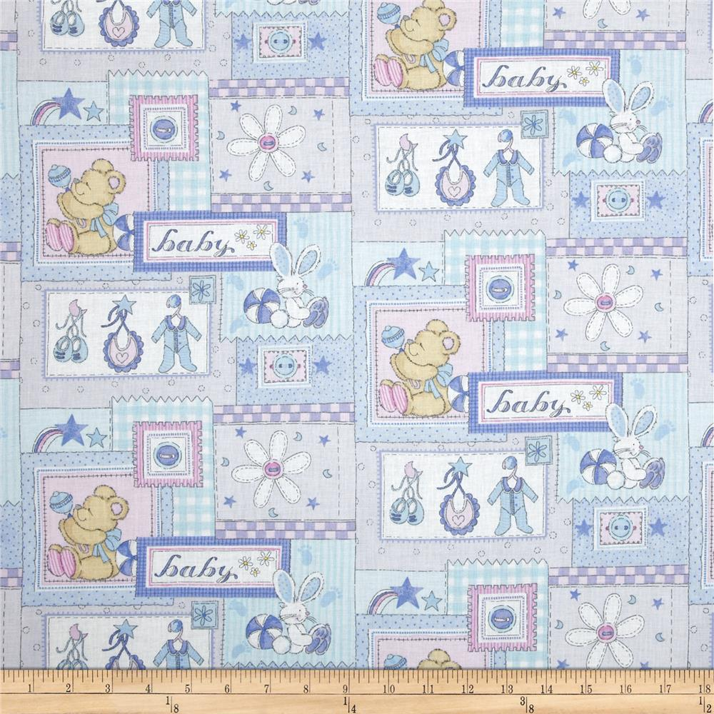 Baby Patchwork & Words Blue/Multi