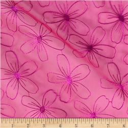 Organza Embroidered Floral Hot Pink