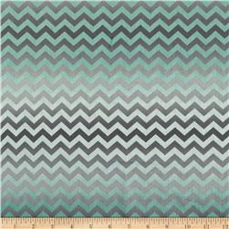 Life Enjoy The Ride Faded Chevron Teal Fabric