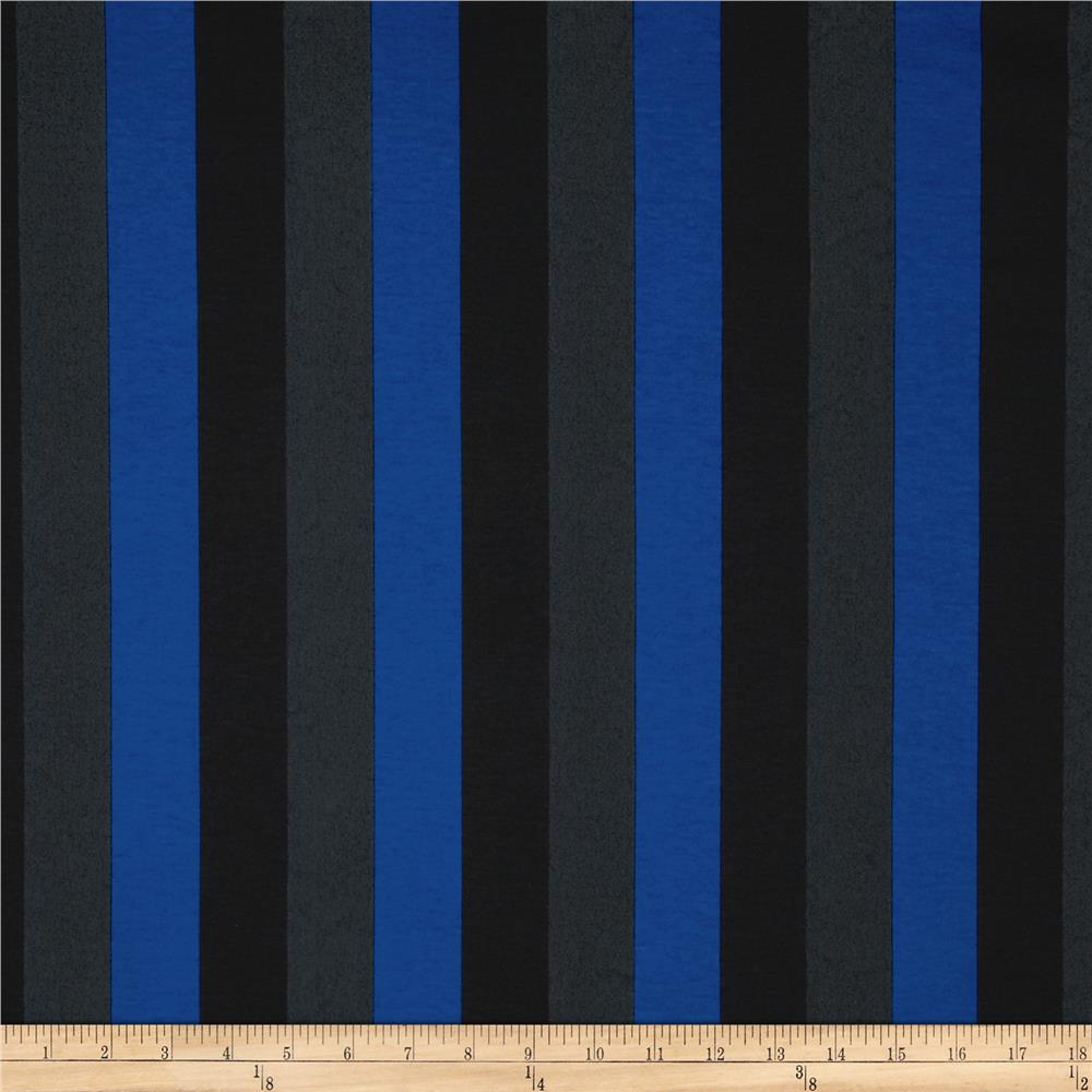 Cotton Blend Interlock Knit Stripes Royal/Black
