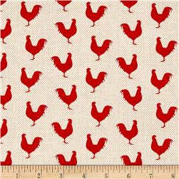 A Day on the Farm Rooster Silhouette Red/Cream