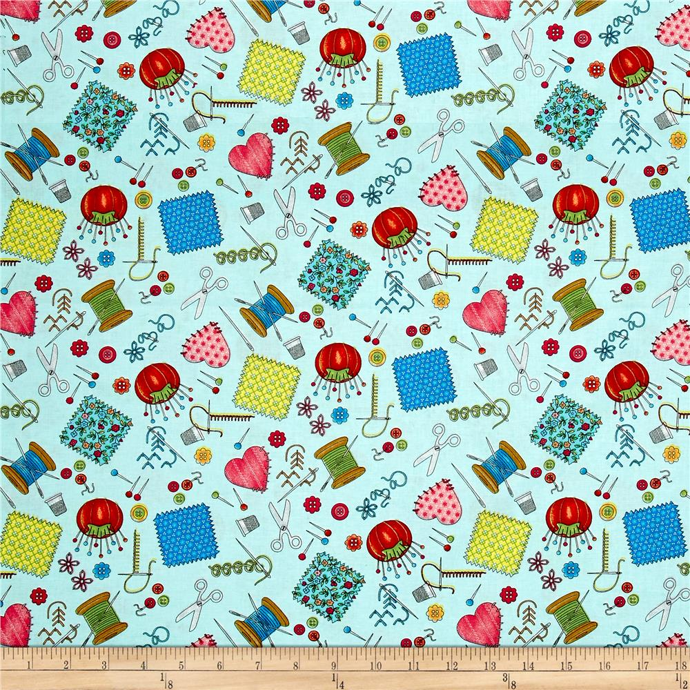 Shop hop sewing notions sky blue discount designer for Cheap sewing fabric