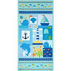 Timeless Treasures Splash Sea Panel Aqua