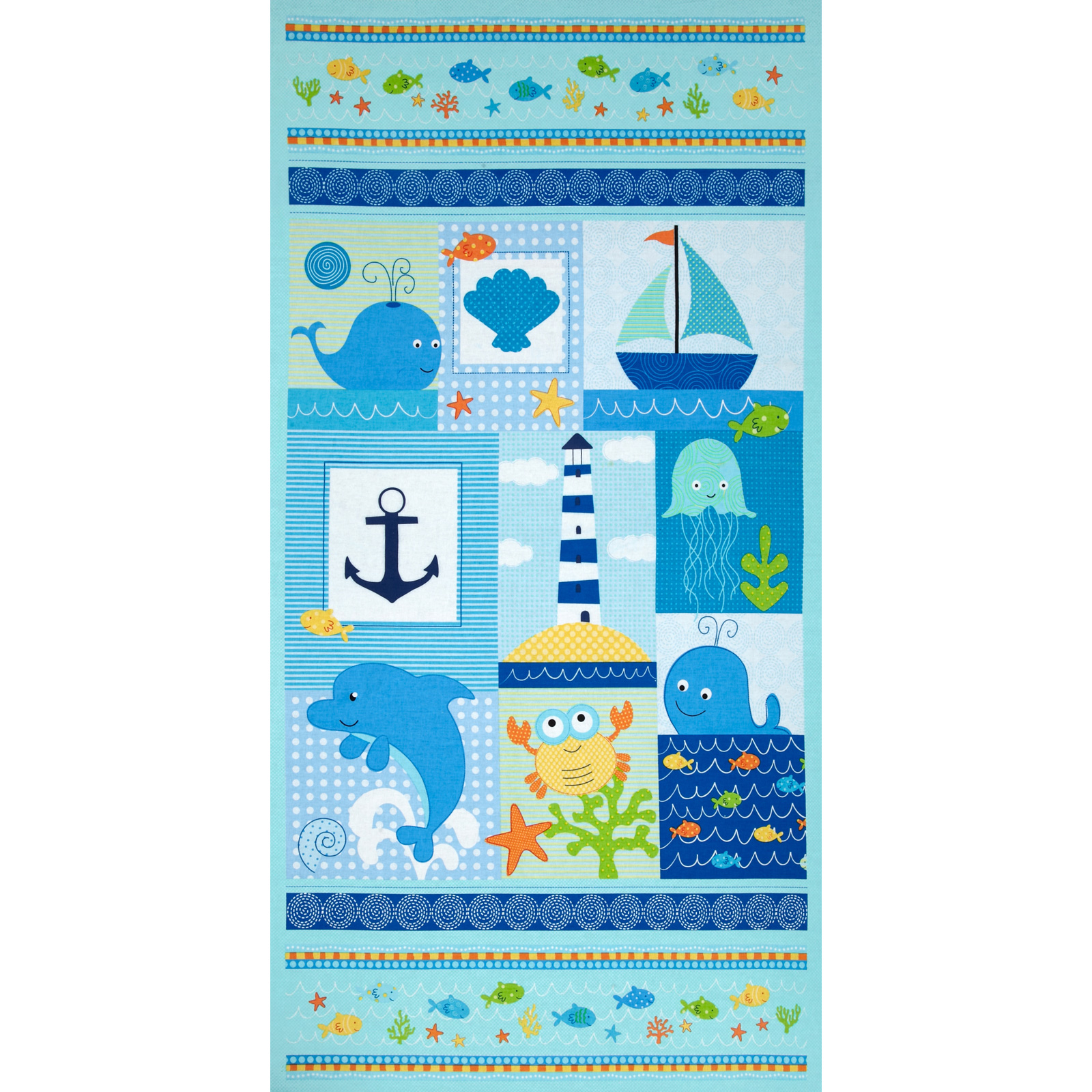 Timeless Treasures Splash Sea Panel Aqua Fabric