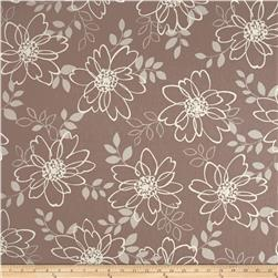 Kaufman Sevenberry Canvas Cotton Flax Prints Flowers Ash