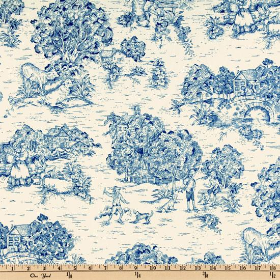 Pastoral Toile Blue/Ivory