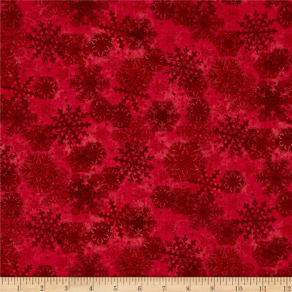 My Precious Quilt Snowflake Red Fabric By The Yard