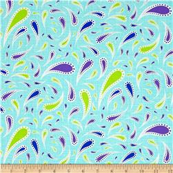 Moda Rainy Day Raindrop Paisley Puddle Turquoise