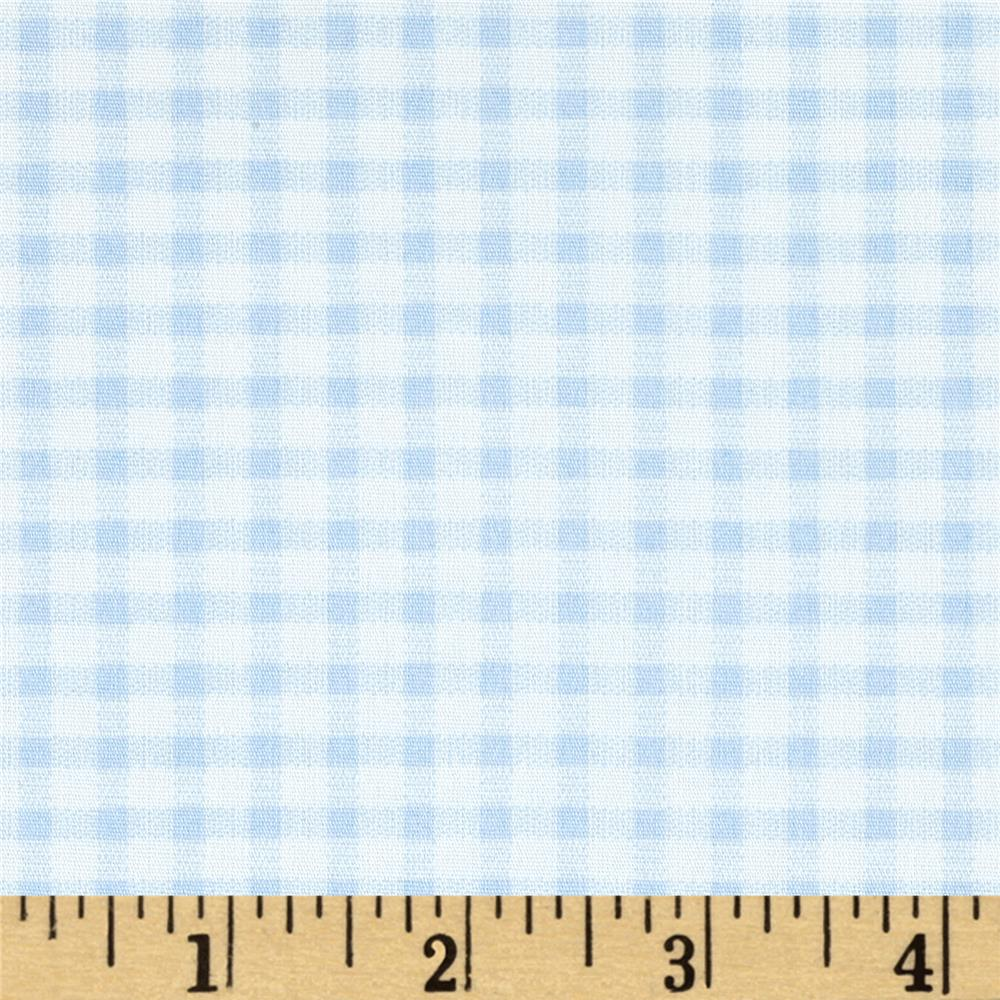 Telio Morocco Blues Stretch Cotton Shirting Gingham Print Baby/Blue/White