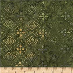 Timeless Treasures Tonga Batiks Bluegrass Tribal Diamond Peridot