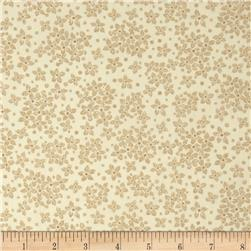 Whisper Print Small Flower Tonal Wheat Fabric