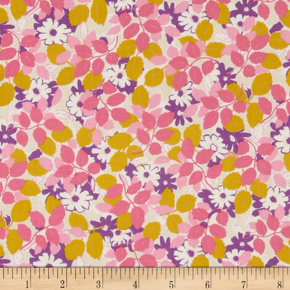 Kaufman London Calling Lawn Flowers & Leaves Pink