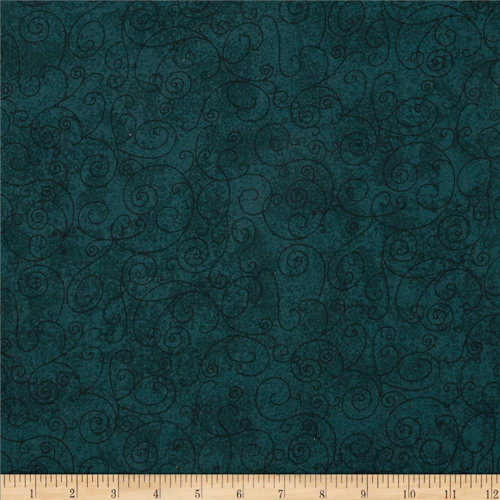 "110"" Wide Flannel Scroll Green Teal"