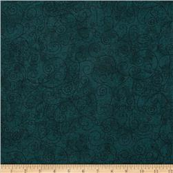 110'' Wide Flannel Scroll Green Teal